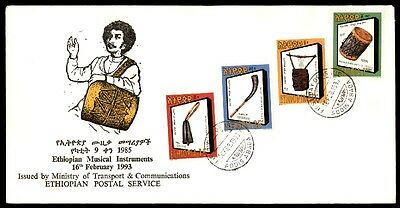 Ethiopia 1993 Musical Instruments Illustrated Cacheted Ua First Day Cover
