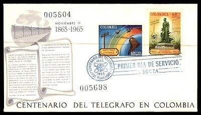 Colombia November 1965 Centenary First Day Cover Telegraph