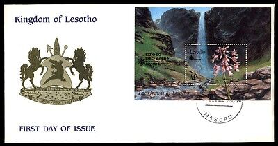 Lesotho Souvenir Sheet Exposition 1990 First Day Cover Flowers