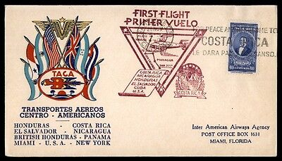 Taca Costa Rica First Flight Cover To Miami Florida Usa Illustrated