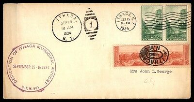 Airport Dedication Ithaca New York Sep 15 1934 Cachet On Cover W/ 2 Pairs