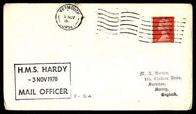 November 3, 1970 Hms Hardy Mail Officer Ship Cover Weymouth