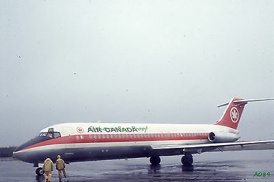 Original 1969 color airplane slide Air Canada Airlines Douglas DC-9 aircraft