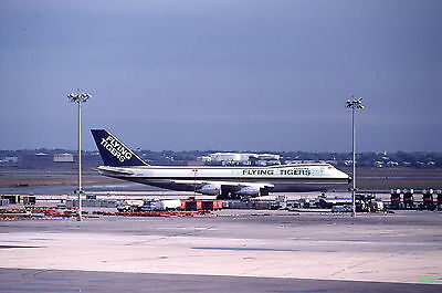 Original 1980 color airplane slide Flying Tigers Airlines Boeing 747 aircraft