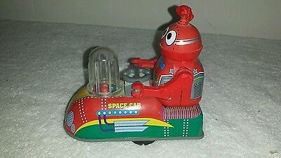 ZV 288 Tin Robot in Space Car Friction Car w/ Popping Balls NM Tested Works