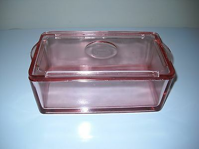"RARE Pink Jeannette 2 lb. BUTTER DISH w/embossed ""B"""