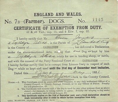 Vintage 1931 Certificate Of Exemption From Dog Licence Duty