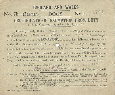 Vintage 1924 Certificate Of Exemption From Dog Licence Duty