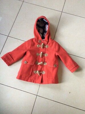 Baby Girl  Next Red Duffle Coat Age 12 To 18 Months