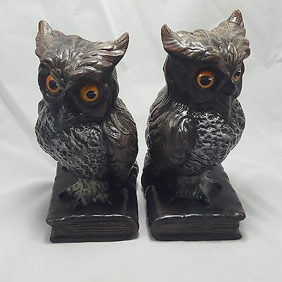 Pair Vintage Horned Owl Ceramic Bookends Statues Hand Painted Books Teacher Gift