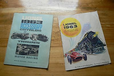 Vintage Lionel corporation 1963 accessory catalogs (2) trains and motor racing.