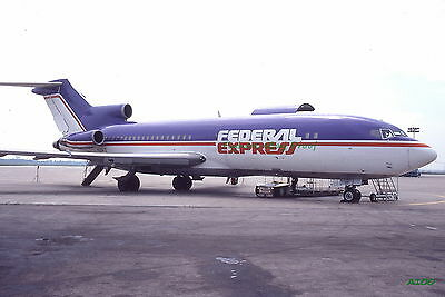 Original 1979 color airplane slide Federal Express Airlines Boeing 727 aircraft