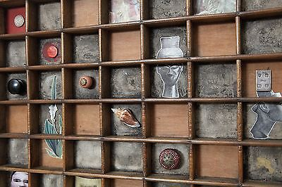 Very Quirky Vintage Industrial Printers Tray Artwork Cabinet of Curiosities
