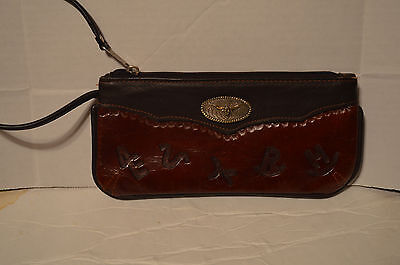 "AMERICAN WEST Leather Western Wristlet Wallet 4 x 9"" w/ Tooled Brands & Conchos"