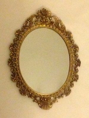 French Style Rococo Ornate Oval Gilt Wall Mirror Antique Style