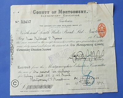 Vintage Bank Cheque. North & South Wales Bank Limited, Montgomery. 1917