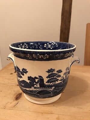 Vintage Spode Blue Tower China Pot Planter With Handles From A Design c.1814