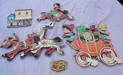 Vintage 1950's Dolly Toy Co Western Stage Coach Wall Plaques Decorations