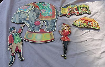 Vintage 1950's Dolly Toy Co Circus Cardboard Wall Plaques Decorations
