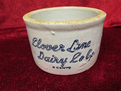 Scarce 1 lb. Clover Lane Dairy Co-op 6 cent Butter Crock As-Is w/hairline cracks