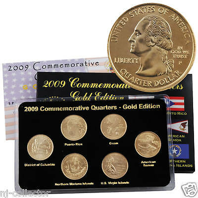 2009 50 State Quarters Gold Set Philadelphia Mint Uncirculated Gold Layered 6 pc