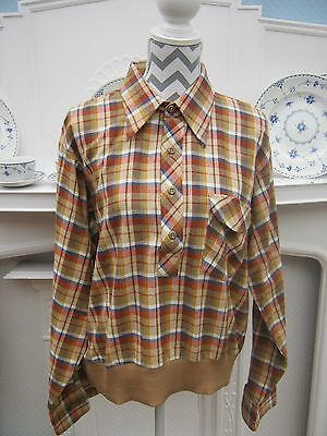 vintage 50s rockabilly BARACUTA flannel check long sleeve shirt / top size 44