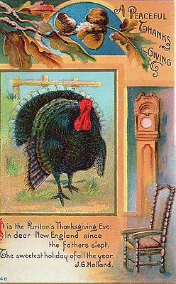 Antique Postcard A Peaceful Thanks Giving Unposted