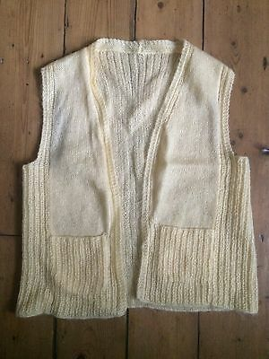 VINTAGE Cream Beige Cable Knit Knitted Cardigan Sleeveless Waistcoat Top Size M