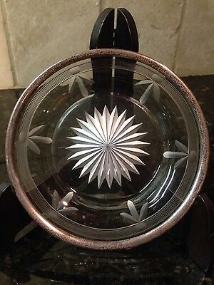 RARE Vintage Watson Sterling Silver Rim Cut Glass/Crystal Plate Dish 5.5""