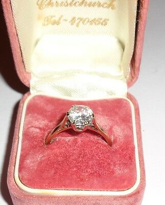Vintage 9ct Yellow Gold Clear Stone Solitaire Ring Size M