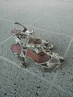 Pink and Pepper Snake Print Beige Brown Platform Shoes Open Toe Size 9