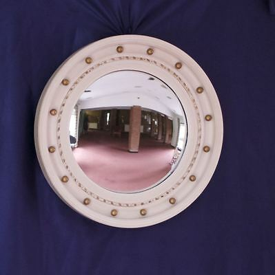 Vintage convex glass porthole mirror with white painted wood & plaster frame.