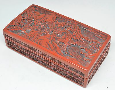 Vintage  Chinese Carved Box Black Lacquer