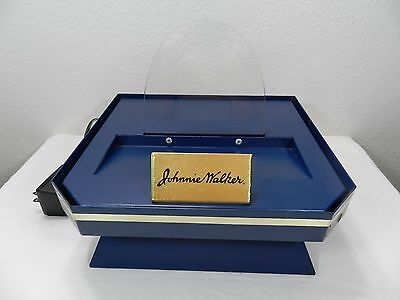Vintage Johnnie Walker Lighted Bar Display for Bottles - Rare - Navy & Gold