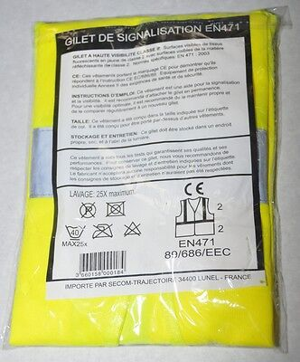1 x High visibility vest, YELLOW, Breakdown vest/Accident vest DIN EN 471 XL