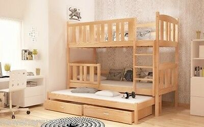 3 Sleeper Bunk Bed Pine Wooden, Mattresses & Storage