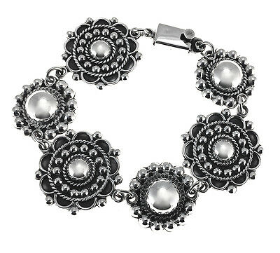 TAXCO 925 VINTAGE STYLE BAROQUE PRESSED BEADS BRACELET   Mexico Sterling Silver