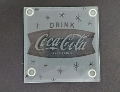 "Coca-Cola ""Fishtail"" Glass Coasters (Set of 4) - BRAND NEW"