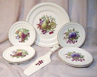 Vintage Harkerware Cake Tray with Server and Six Dessert Plates