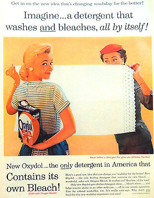 Vintage 1956 Oxydol laundry detergent soap advertisement print ad art