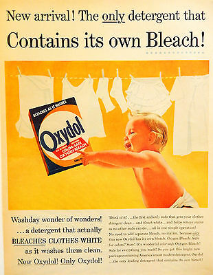Vintage 1956 Oxydol laundry detergent baby advertisement print art