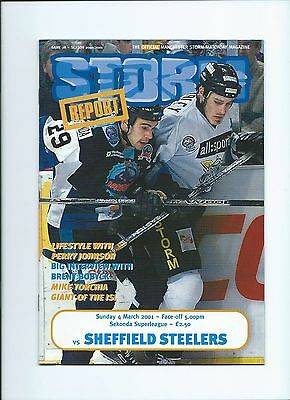 2001 Manchester Storm v Sheffield Steelers March 4th Mint