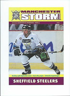 2000 Manchester Storm v Sheffield Steelers Sept 24th Mint
