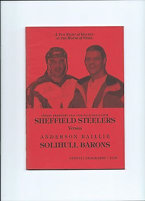 1996 Sheffield Steelers v Solihull Barons Challenge Match