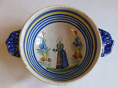 Antique early Henriot Quimper bowl with peasant woman design