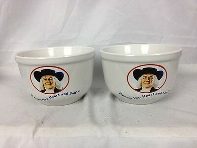 Lot of 2 Ceramic Quaker Oats Oatmeal Bowls Warms Your Heart and Soul White 1999