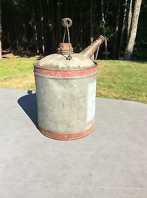 Vintage 1 Gallon Kerosene Oil Gas Galvanized  Metal Can with Red Stripes