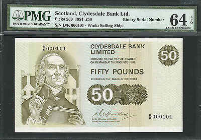 Scotland, Clydesdale Bank Ltd 1981 P-209 PMG Choice UNC 64 EPQ 50 pounds-S/N 101