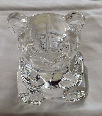 PARTYLITE Clear Glass Teddy Bear Tea light Votive Candle Holder Retired Mint