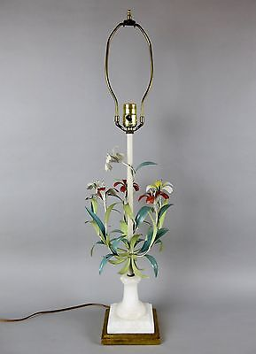 Tole Italy Hand Painted Flower Table Lamp - Toleware Floral Art